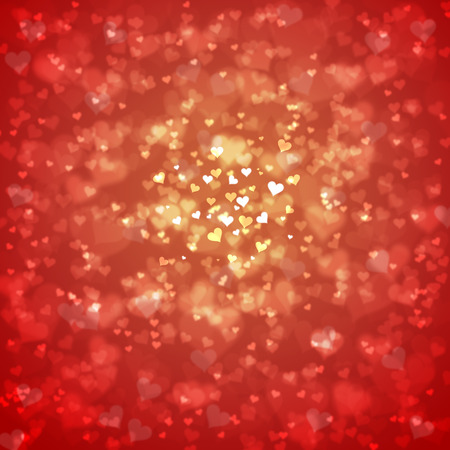 Blurry red and gold color Valentines Day Hearts illustration.