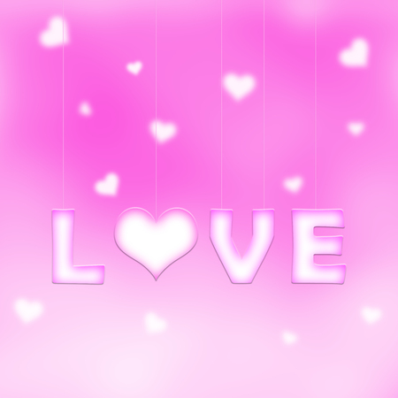 text pink: Lovely white pink love word letters with heart symbol hang on thin ropes on blurred pink bokeh background with blurred hearts. Conceptual valentine day copy space illustration.