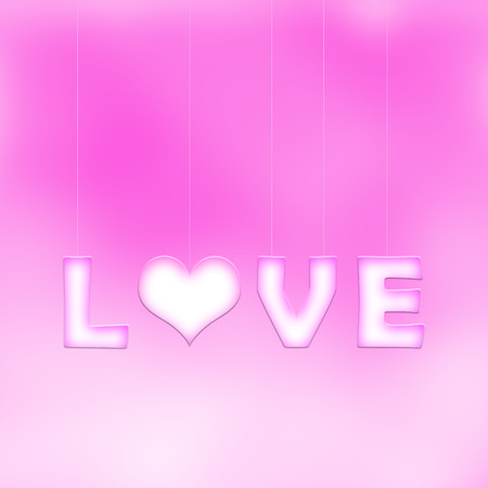 violet background: Lovely white purple love word letters with heart symbol hang on thin ropes on blurred purple bokeh background. Conceptual valentine day copy space illustration. Stock Photo