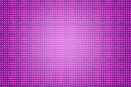 Lovely bright purple color many small heart symbol repeating pattern illustration on pink background.