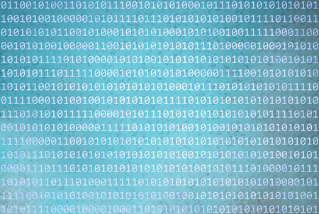 binary data: Grunge texturet binary numbers code information on abstract grunge blurred cyan blue color background. Background with binary data and grunge cyan blue colored illustration background.