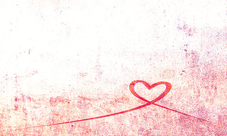 romance: Grunge red ribbon heart on bright background illustration.