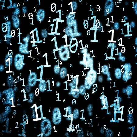 Grunge Dark Textured Abstract Blue Color Binary Code Numbers Stream On Background