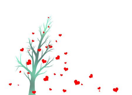 De Color Violeta Silueta Hermoso árbol Rojo Con Forma De Corazón ...