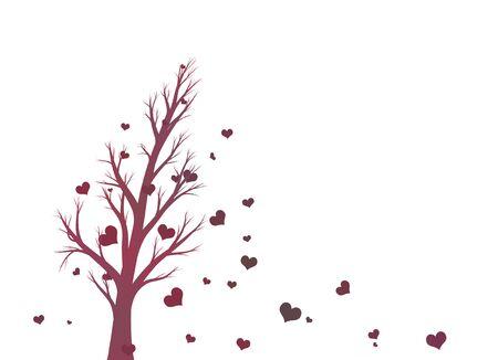 Silueta Del árbol De Color Violeta Hermosa Con Forma De Corazón Rojo ...