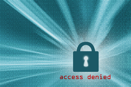 access denied: Access denied - turquoise color closed padlock with binary code background. Safety concept. Illustration.