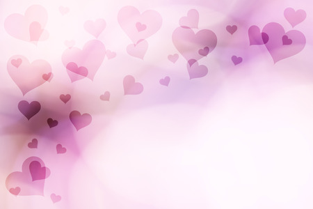 pink wallpaper: Bright blurry purple colored Valentines Day Hearts illustration on bright background with place for text. Heart symbols with copy space background. Stock Photo