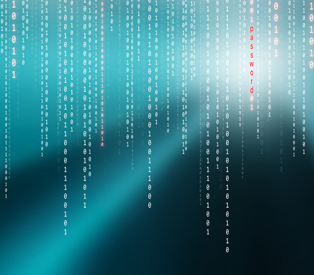 technology security: Conceptual matrix binary code with password word background. Safety computing falling binary code on turquoise background.