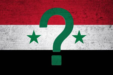 symbol victim: Grunge textured Syria flag with big green question mark symbol. Conceptual syria conflict solution background. Stock Photo