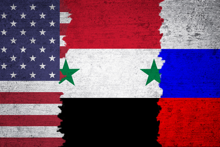 middle east crisis: Conceptual Syria, USA and Russia torn flags Middle East politics solutions grunge textured background.