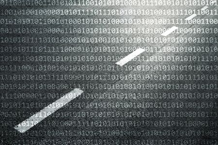 information superhighway: Concept binary code numbers travel information on black and white textured road background. Conceptual information superhighway or infobahn telecommunications network background. Stock Photo