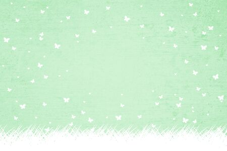 textured: Conceptual textured green color abstract spring season and easter holiday copy space illustration background with white colored butterflies and meadow.