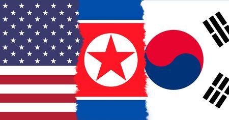 pacto: Conceptual EE.UU., Sur y Corea del Norte banderas de fondo. Foto de archivo