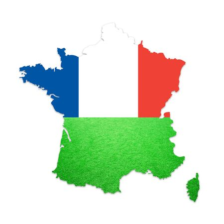 soccer field grass: Soccer grass field and France flag textured France country map isolated on white. France flag map football field copy space illustration background. Stock Photo