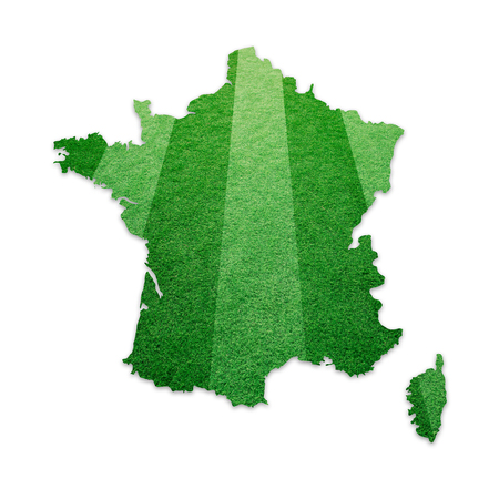 soccer grass: Soccer grass field textured France country map isolated on white. France map football field copy space illustration background.