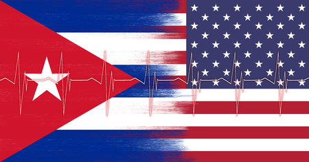 torn heart: United States of America and Cuba abstract torn flag with conceptual heart pulse pattern. Conceptual and symbolic illustration of the friendly situation between Cuba and USA. Stock Photo
