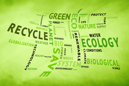 Curved conceptual tag or word cloud on blurred yellow green background containing words related to ecology, environment, ecosystem, nature, etc. Square composition used. Stock Photo