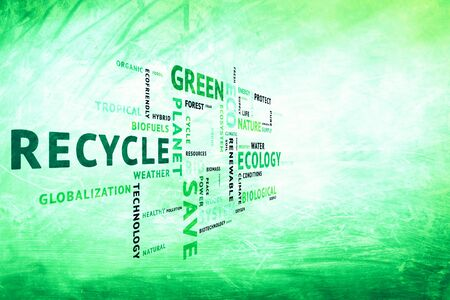 ecosystem: Modern grunge conceptual tags or word cloud on blurred grunge bright green color background, containing words related to ecology, environment, ecosystem, nature, etc. with place for text.