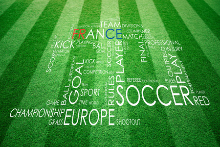 outfield: Conceptual soccer France competition words composed cloud. Soccer game words cloud concept on sunny green grass background. Stock Photo