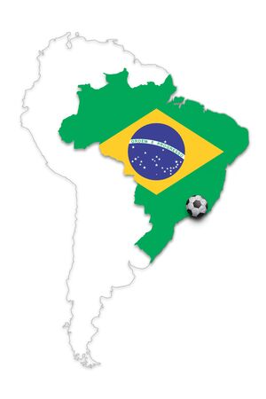 brazil country: Brazil country map with Brazil flag and soccer ball isolated on white. Brazil football with soccer ball copy space illustration background.