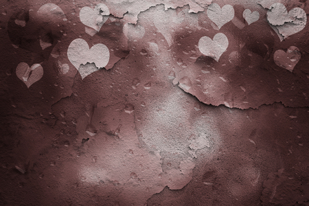 relationship breakup: Cracked wall and glass textured marsala color Valentines Day Heart shapes illustration background with droplet. Textured Valentine Holidays greeting card copy space background.