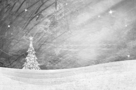 icy: Bright silver grunge winter landscape with mountain layers background. Snowflake Christmas tree and sparkle. Icy textured New year greeting card with Christmas tree copy space illustration.