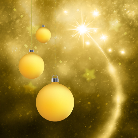 christmas bulbs: Lovely golden Christmas bulbs set on abstract blurred gold color background with fireworks. Lovely Happy New Year and Christmas holiday greeting card background. Stock Photo