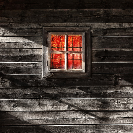day light: Day scene of a house with red light curtain window.