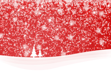 winter scene: Red snowy Xmas and New Year winter landscape scene with tree and sparkle. Illustration greeting card.
