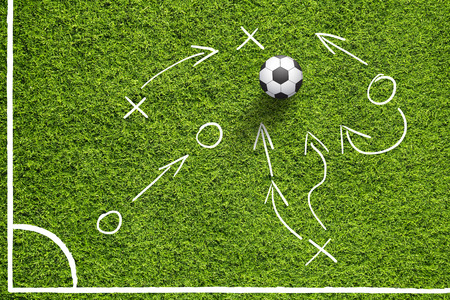 Hand drawn (sketch style) soccer field or football field corner with illustrated soccer ball and game strategy plan team on sunny green grass background.