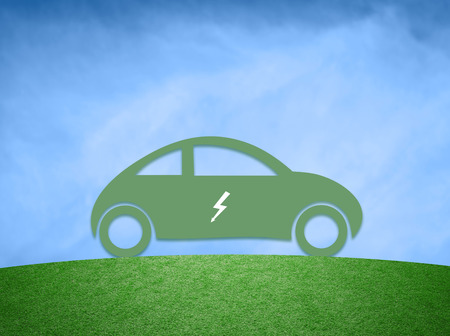 greenery: Concept electric car background. Green flat car icon with electric symbol on blue sky background.