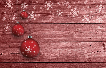 Red colored textured wooden boards with illustrated snowflakes and Christmas bulbs set with blank background. Greeting card background.