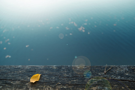 Single yellow colored autumn leaf on wooden fence with blurred sunny water background