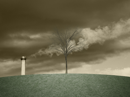 Industrial pollution conceptual background with smoke from the chimney and dead tree.