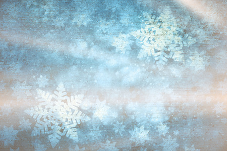 Shiny artistic blurry textured snowflakes illustration background. Dreamy winter season copy space greeting card. Stock Photo