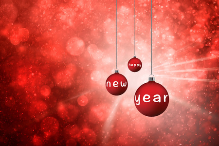 bokeh message: Artistic red color bokeh with lovely decorative Christmas bulbs set and light rays background. Red colored Xmas bulbs with Happy new year message illustration background. Stock Photo