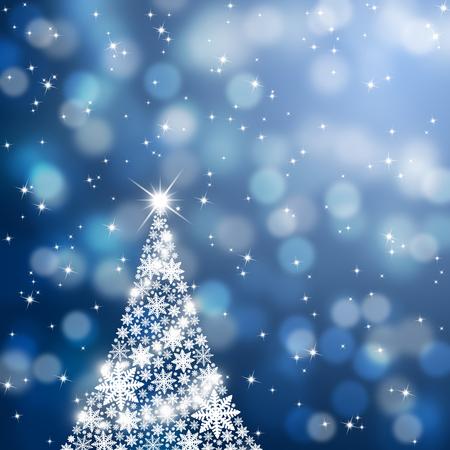christmas tree illustration: White snowflake Christmas tree with sparkle illustration.