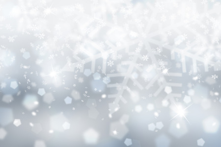 blurry: Blurry silver snowflake illustration with soft blue color background.