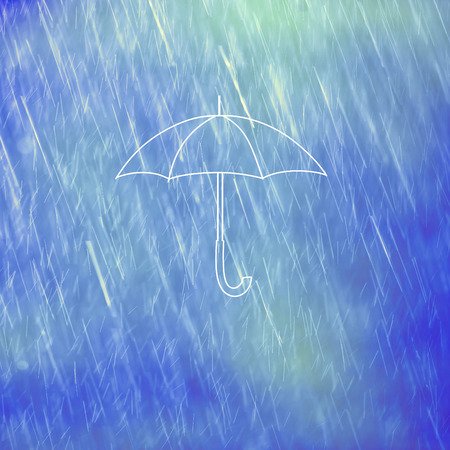 illustrated: Illustrated white umbrella on rainy blue colored background with place for text message.