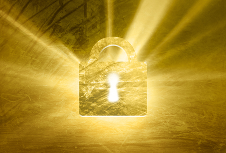 gold textured background: Locked grunge textured padlock on abstract shiny yellow gold colored illustration background.