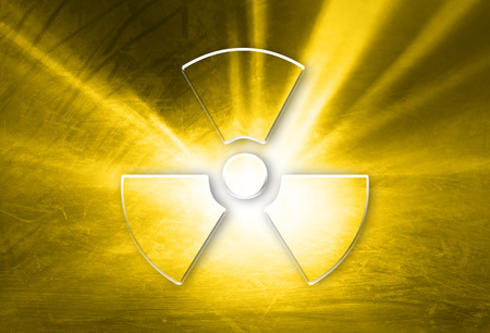 radioactivity: Conceptual shiny glass effect radiation symbol on grunge orange yellow colored illustration background. Concept radioactivity symbol with place for text.