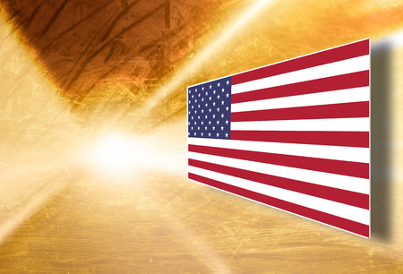 gold textured background: Artistic gold color creative Usa flag screen display background. Gold colored grunge textured Usa flag with copy space illustration background. Stock Photo