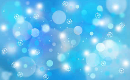 blue snowflakes: Blue colored abstract blurred circle bokeh with snowflakes, copy space illustration background.