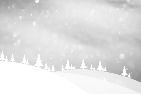snowy hill: Winter season landscape with trees and hills. Silver colored Christmas and New Year greeting card illustration background. Stock Photo