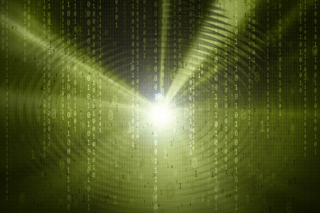 green swirl: Artistic binary numbers data travel information on dark green color abstract swirl light background. Stock Photo