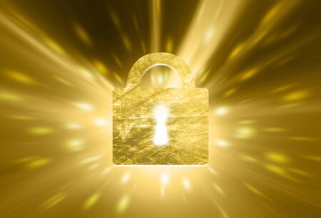 private access: Artistic gold colored closed padlock on golden aritistic light background. Safety concept. Illustration. Stock Photo