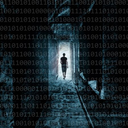 Artistic grunge man walk on street underpass with binary numbers background. Concept security data with silhouette person. Blue color tone used.