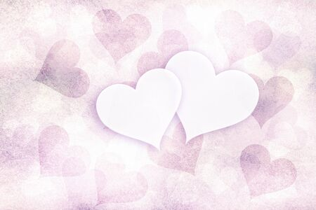 pastel colored: Grunge soft violet red pastel colored Valentines Day background with two white copy space hearts illustration. Stock Photo