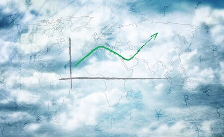 Hand drawn diagram showing global business growth with world map on cloudy sky. Illustration. Stock Photo