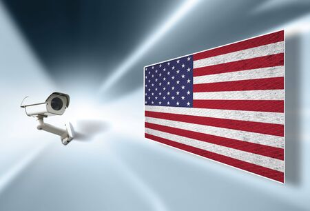 Cctv surveillance camera monitoring and displays United States of America textured flag on the illustrated screen.